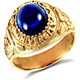 Jewelco London Men's Solid 9ct Yellow Gold Blue Oval Cubic Zirconia Cabochon Solitaire Oval University College Ring
