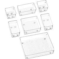 Puricon Desk Drawer Organizers (7 Pieces), Clear Versatile Polystyrene Storage Bins Vanity Trays Makeup Organizer…