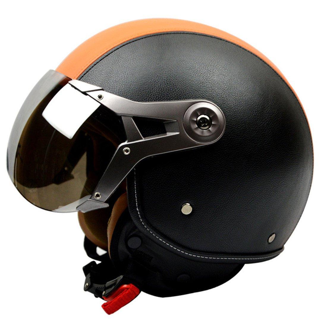 RACINGE Casque Ouvert de Casque Vintage de Moto en Cuir V/éritable R/étro Harley Moto Casque