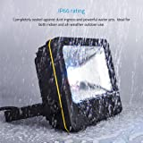 LOFTEK Nova S 50W RGB LED Flood Light, Outdoor IP66 Waterproof Explosion-Proof Glass Color Changing Light with Remote Control, Wall Washer Light, 3.9 Feet Wire, No Plug Need Hard Wiring, Black
