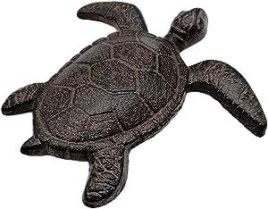 Comfy Hour Cast Iron Ocean Turtle Figurine, Indoor Outdoor Garden Decor, Brown