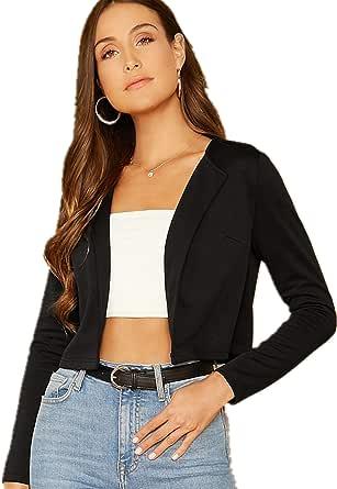 Floerns Women's Plaid Print Long Sleeve Open Front Jacket