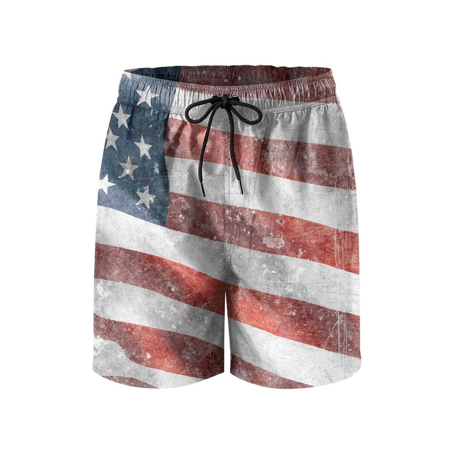 Staue of Liberty with American Flag Mens Swimming Trunks Beach Board Shorts Ruched Waterproof Sporty Short Pants Beachwear
