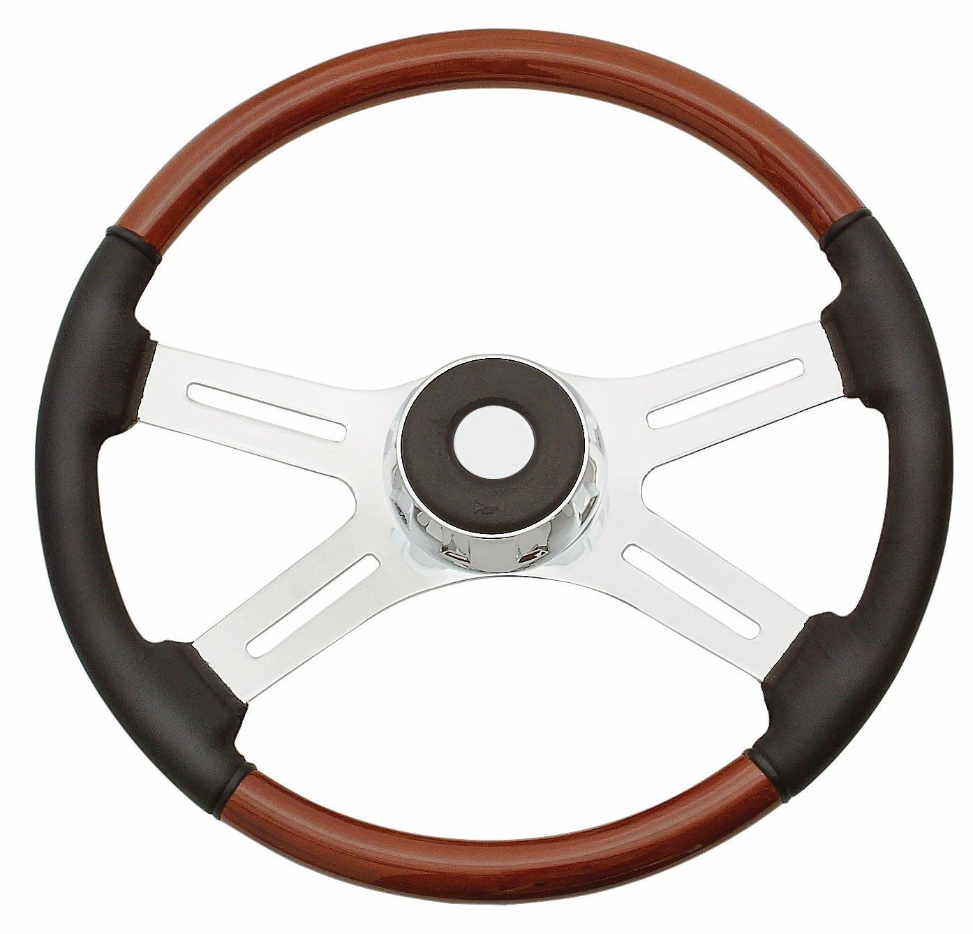 Woodys WP-SWPB7598L Rosewood Chrome Truck Steering Wheel Beautiful African Hardwood