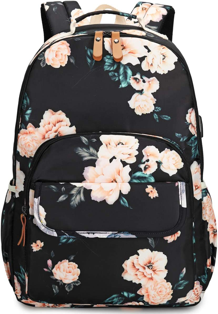 CAMTOP School Backpack Laptop Bookbags for Women Girls College Computer Bags with USB Charging Port (Flower)