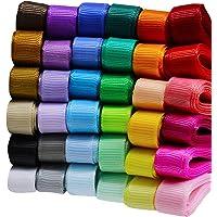 "Supla 36 Rolls 36 Color 72 Yard 3/8"" Wide Solid Grosgrain Ribbons Bulk Rainbow Color Grosgrain Ribbons Set for Wedding…"