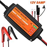AIMTOM 5Amp Smart Battery Charger 4-Stage Ultra-safe 12V Intelligent Maintainer for Car RV SUV Truck Motorcycle Boat Lawn Mower Use Suitable AGM, GEL, VRLA, WET, Sealed Lead Acid Batteries …