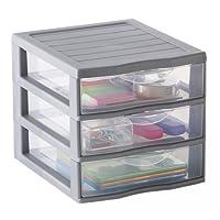 Sundis 4219018Orgamix mini cassettiera con 2cassetti grandi PP Argent 36,5x 26x 25,5cm