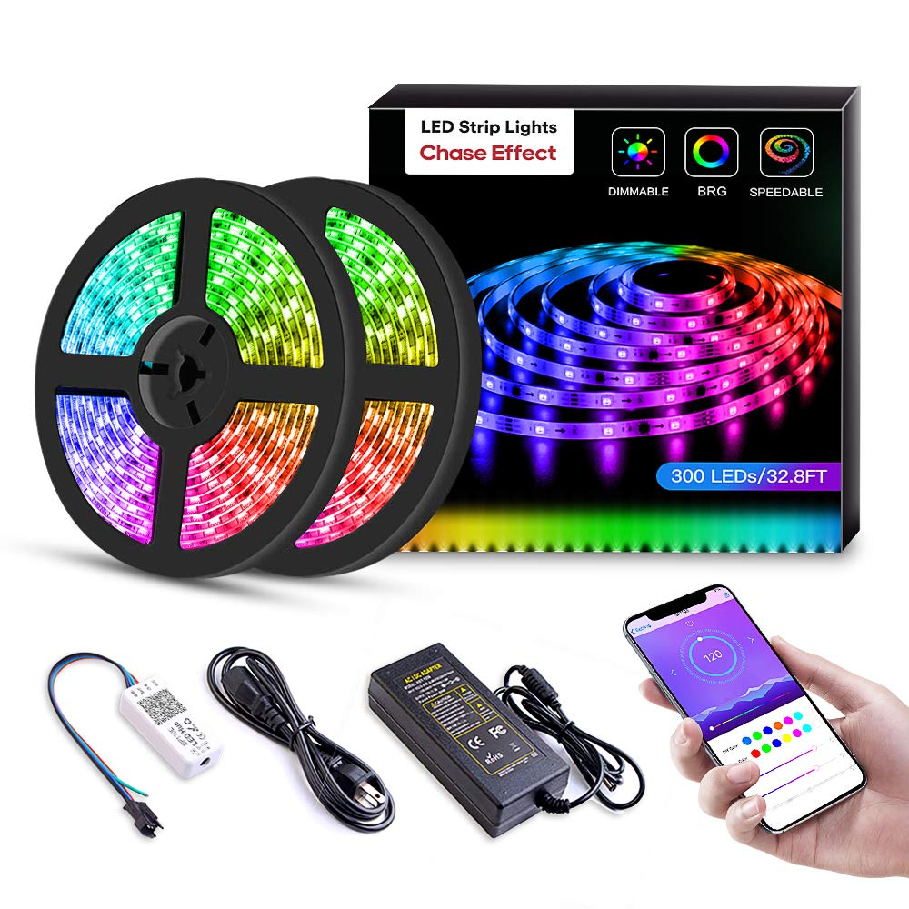 LED Strip Lights Built-in IC with App, 32.8ft/10m LED Chasing Light, 12V 5050 RGB Waterproof 300Leds Flexible-Lighting, Dream Color Changing Rope Lights Kit with Adhesive for Home Kitchen