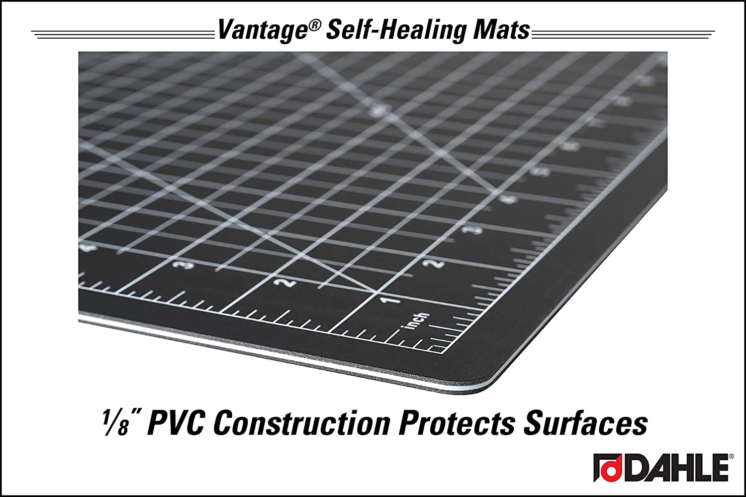 Black and Crafts Dahle 10673 Vantage Self-Healing Cutting Mat Self Healing for Maximum Durability 5 layer PVC Construction Perfect for Cropping Photos 24 x 36 1//2 Grid Lines Cutting Sewing