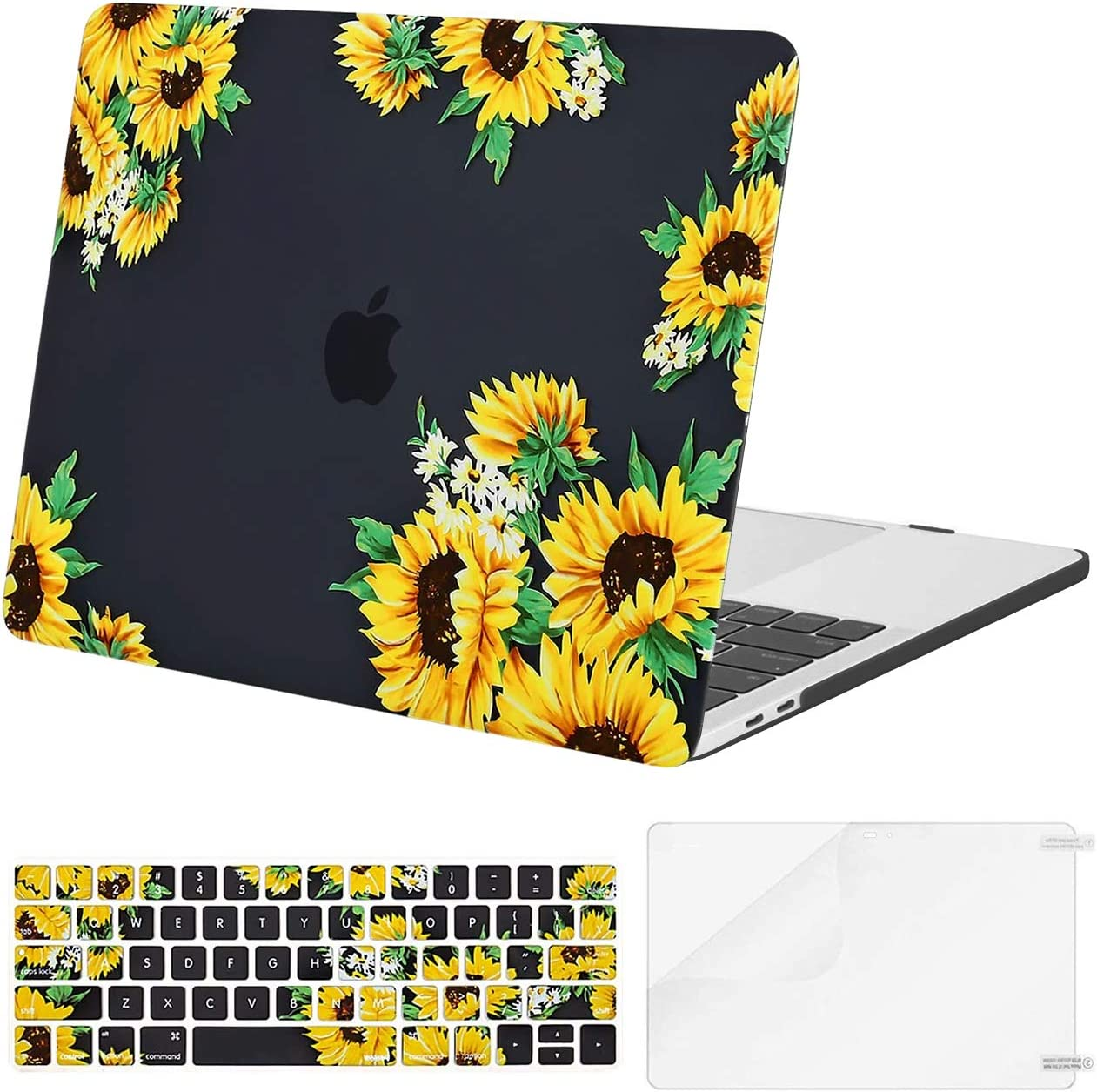 MOSISO Compatible with MacBook Pro 15 inch Case 2016-2019 Release A1990 A1707 with Touch Bar, Plastic Sunflower Hard Shell Case & Keyboard Cover & Screen Protector, Black