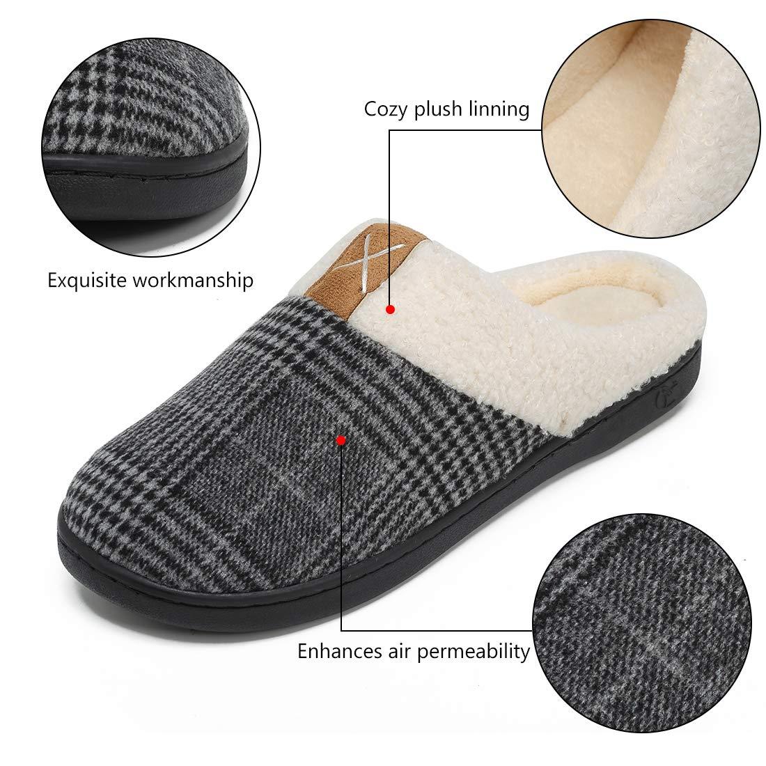 Deevike Hommes Chaussons Gar/çon Pantoufles Maison Adult Chaussons en Coton Peluche dhiver Chaud Chaussures Anti-Slip Confortable Pantoufles