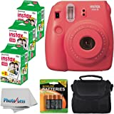Fujifilm Instax Mini 8 Instant Film Camera (Raspberry) With Fujifilm Instax Mini 6 Pack Instant Film (60 Shots) + Compact Bag Case + Batteries Top Kit - International Version (No Warranty)