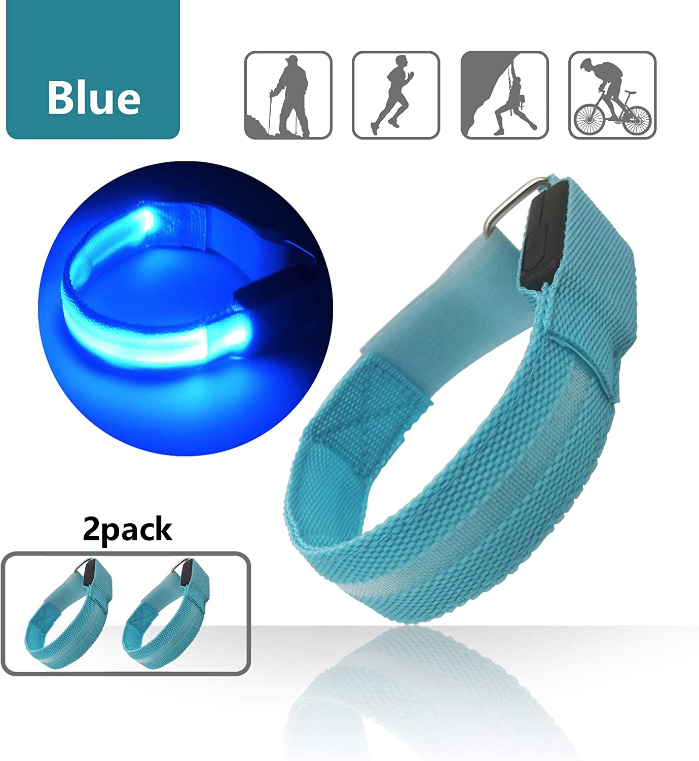 LED Armband for Running Cycling Exercising Glow Light up in Dark Night Running Gear Safety Reflective Sports Event Wristbands with USB Charging Cord