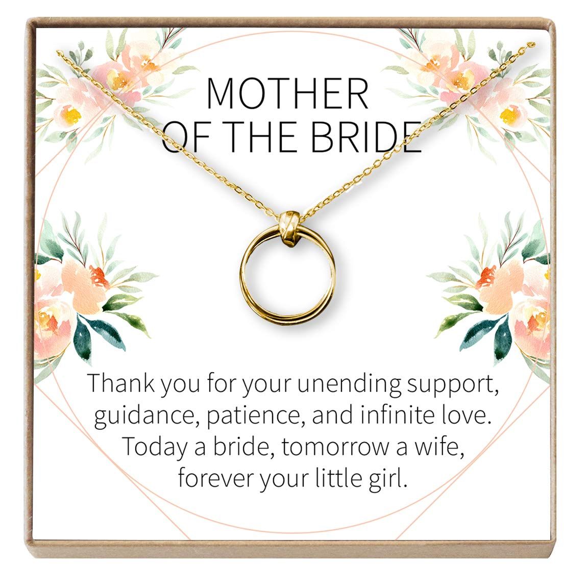 Dear Ava Mother of The Bride Gift Necklace Parent of Bride Jewelry 2 Linked Circles
