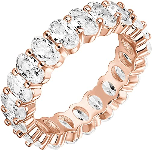 5mm Stackable Rings for Women PAVOI 14K Gold Plated Rings Oval Cubic Zirconia Love Ring Gold Rings for Women