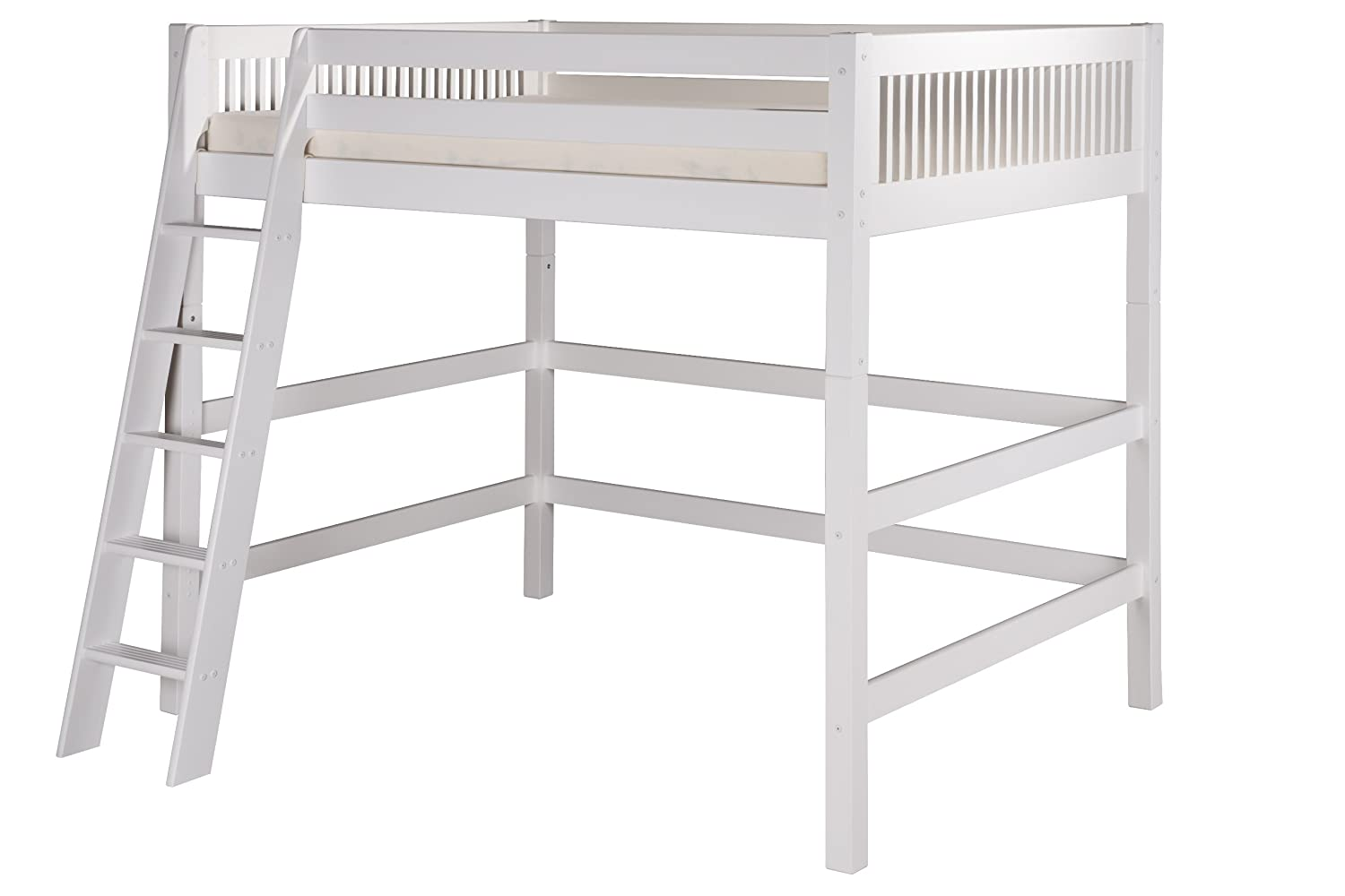 Amazon.com: Camaflexi Mission Style Solid Wood High Loft Bed, Full W/ End  Angled Ladder, Natural: Kitchen U0026 Dining