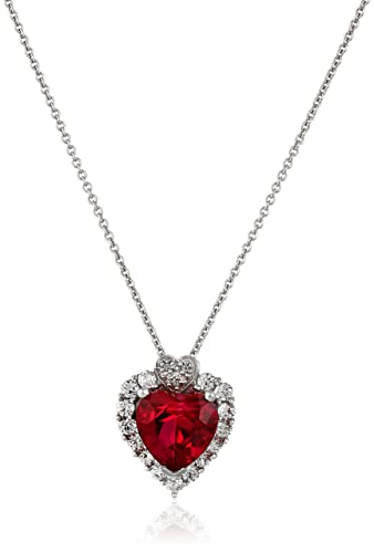 Amazon sterling silver created ruby created white sapphire sterling silver created ruby created white sapphire and diamond heart pendant necklace aloadofball Image collections