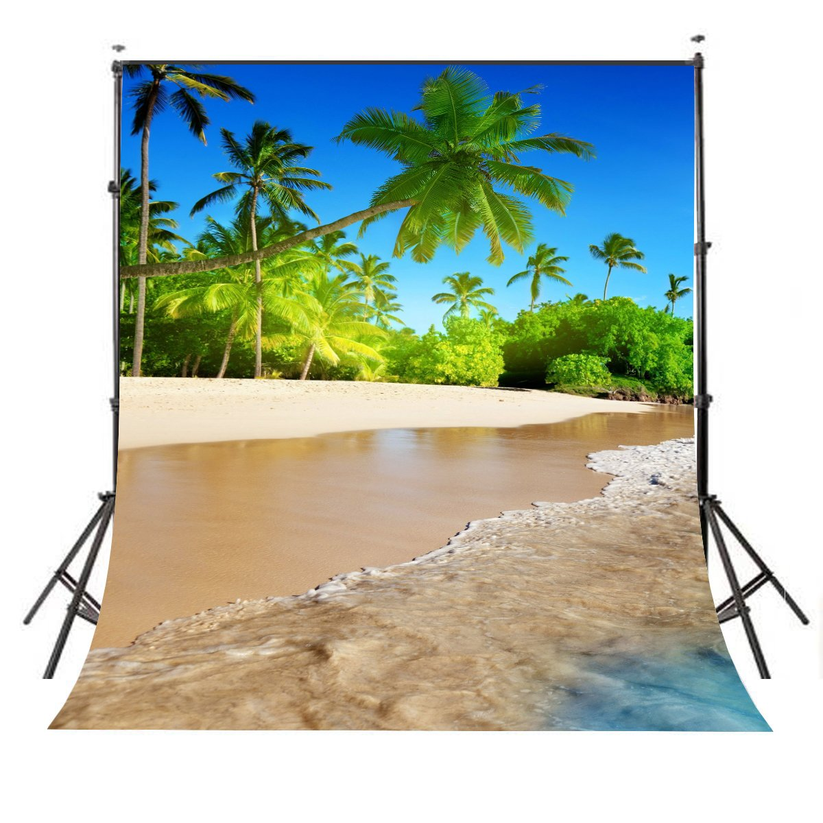 Lyly County Photography Background 5x7ft Summer Sunshine Natural Beach Coast Tropical Paradise Blue Sea Sky Coconut Tree Photo Studio Props (Upgrade material) LY032 by LYLYCTY