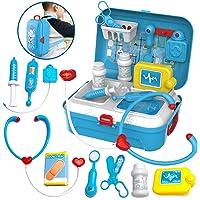 Valigetta Dottore Giocattolo Zaino Medico Kit con Accessori Gioco di Ruolo Bambini Giocattoli Bambino 3 Anni, 17 Pezzi