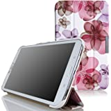 MoKo Samsung Galaxy Tab 3 8.0 Case - Ultra Slim Lightweight Smart-shell Stand Case for Samsung Galaxy Tab 3 8.0 Inch SM-T3100 / SM-T3110 Android Tablet, Flower PURPLE (with Smart Auto Wake / Sleep)