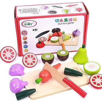 Amazon.com: Frutas Hortalizas de madera juguete, de corte ...