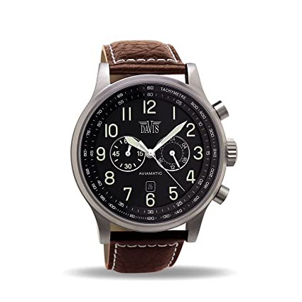 Davis Mens 0451 Aviator 48mm Watch Water-Resistant 50m Chronograph Brown Leather Strap