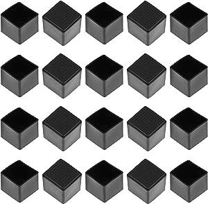 "Bonsicoky 20Pcs Square Rubber Furniture Leg Caps 1Inch Chair Leg Covers Vinyl Flexible Chair Leg Floor Protectors Plastic End Caps for Patio/Indoor Furniture Leg Caps (1 x 1"", Black)"