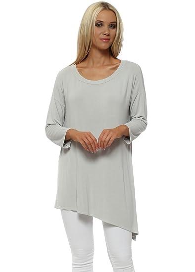 fde8059f93b A Postcard From Brighton Fabiola Grey White Long Sleeve Asymmetric Tunic Top  S/M Light Grey: Amazon.co.uk: Clothing