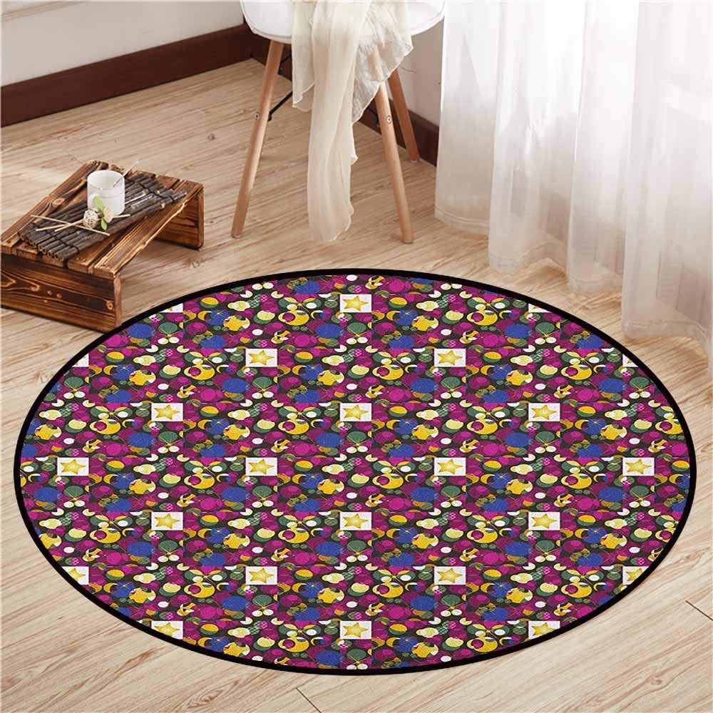 "Non-Slip Round Rugs,Abstract,Mix Forms with Stars Circles Square Colorful Chaos Geometric Pattern,Sofa Coffee Table Mat,4'11"" Gold Fuchsia Violet Blue"