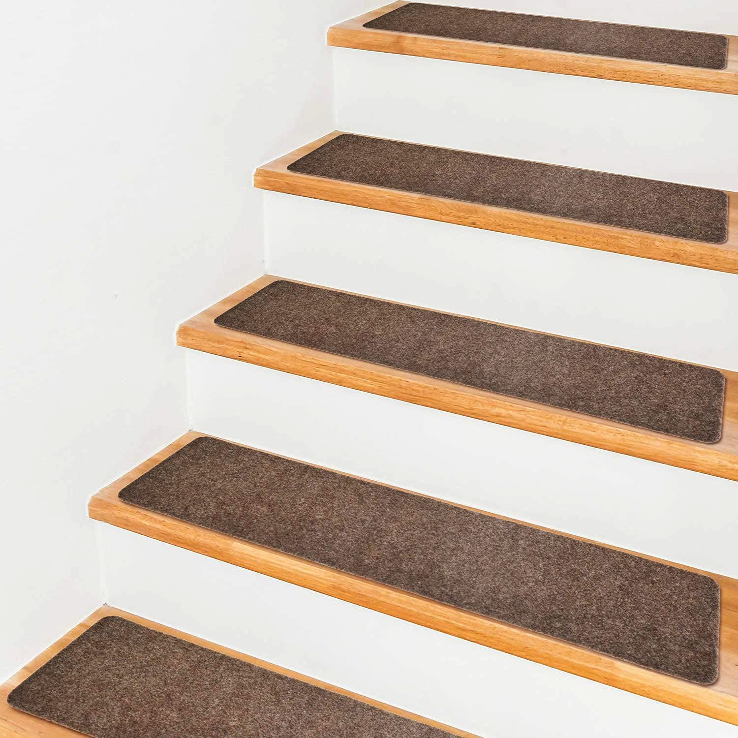 Brown Pretigo 7.5x30 Stair Treads Non-Slip Indoor Stair Runners for Wooden Steps Anti-Slip Strips for Kids and Dogs