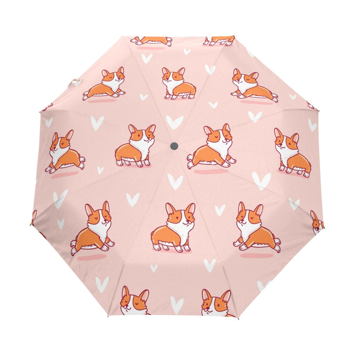 Naanle Cute Corgi Pink Background Auto Open Close Foldable Windproof Travel Umbrella