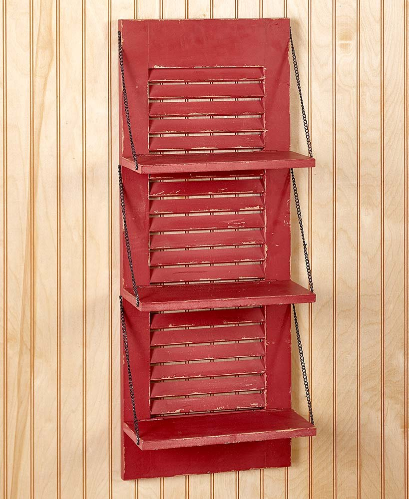 Country Shutter Wall Shelves Red
