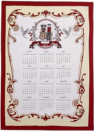 Canovaccio Calendario 2021 Strofinaccio calendario 2021 Tipisch ecru 50 x 70 cm Winkler