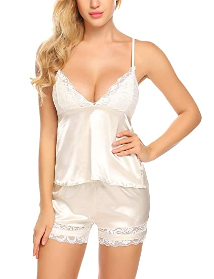 4f2526a7407d Avidlove Women Satin Cami and Short Pajamas Set Sexy Lace Lingerie Sleepwear  Hater Babydoll