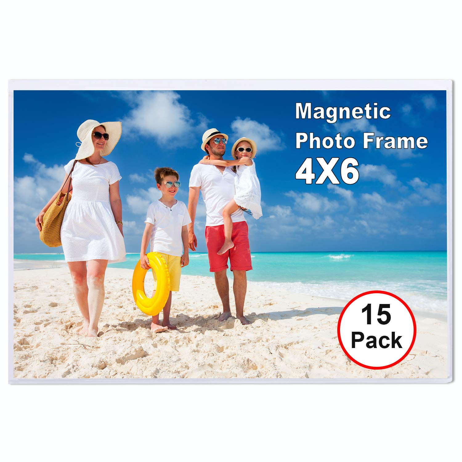 TNELTUEB 15 Pack Magnetic Picture Frames with Photo Pocket, 4 x 6 Magnetic Photo Sleeve Frame for Refrigerator, Fridge, Office Cabinet
