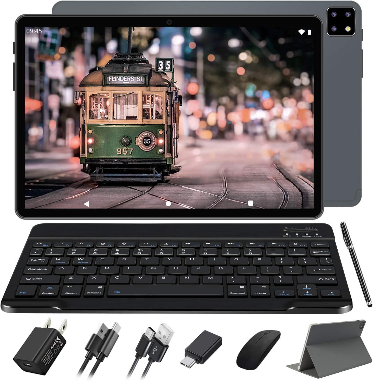 Tablet 10 Pulgadas FACETEL Android 10.0 Tableta 5G Wi-Fi,4GB RAM 64GB ROM (TF 128GB), Octa-Core 1.6 GHz, 1920×1200 FHD IPS Display, Batería 8000mAh,GPS   Bluetooth   WiFi   Teclado y Ratón- Gris