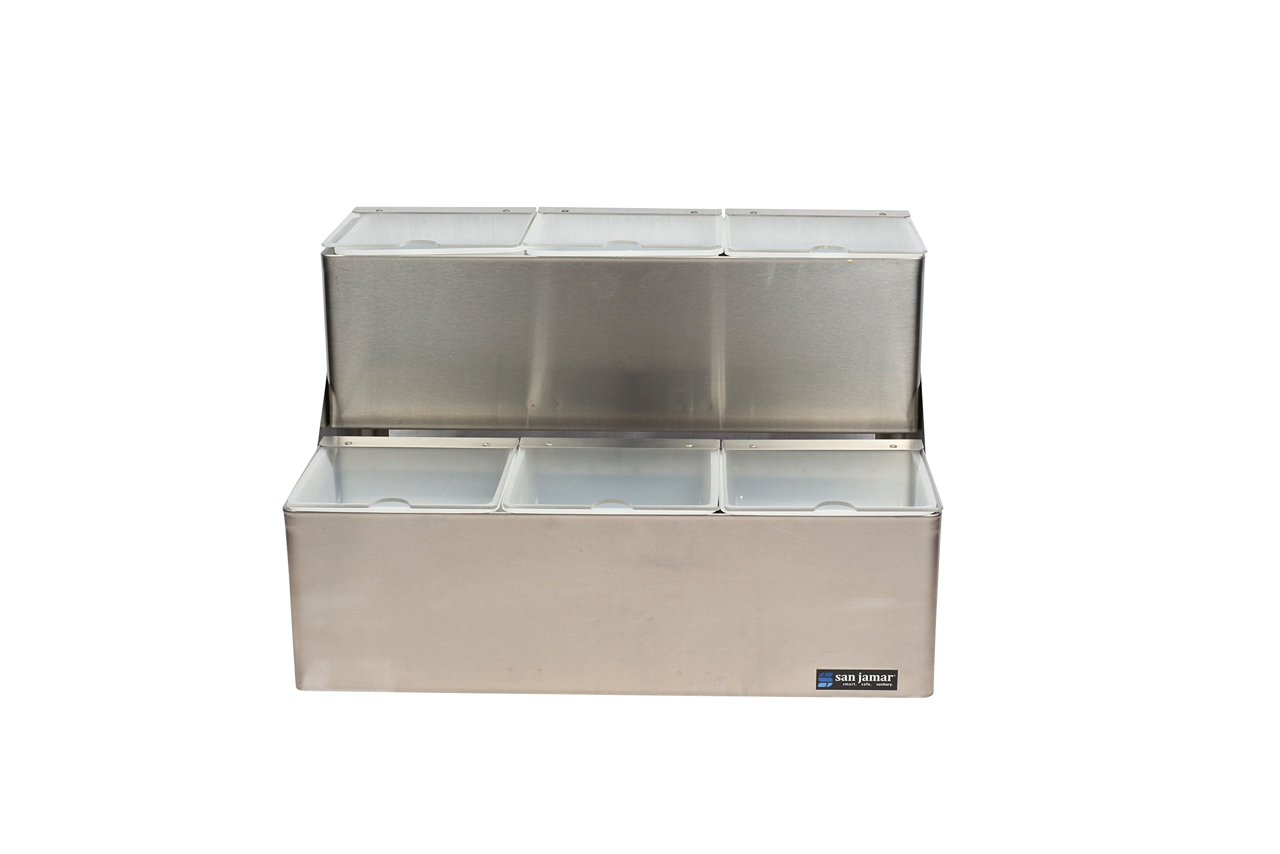 San Jamar B6706INL EZ-Chill Stainless Steel Stepped Center with Individual Notched Lid, 18'' Width x 12-5/8'' Height x 12'' Depth