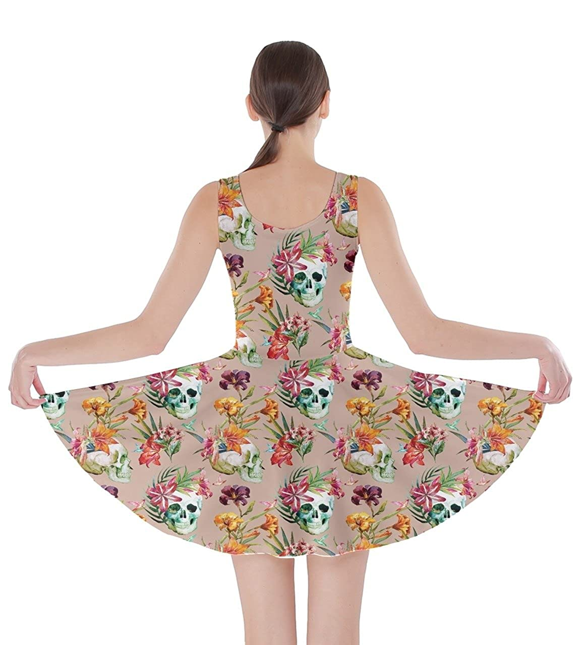 1628b040fbd CowCow Womens Sugar Skull Flowers Floral Skeleton Mexican Day of Dead Roses Skater  Dress