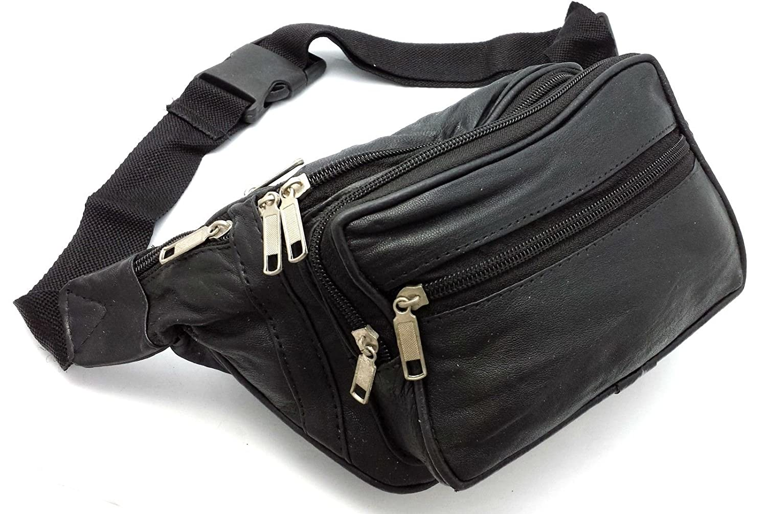 LEATHER BUM BAG BLACK WAIST BAG MONEY BELT TRAVEL HOLIDAY POUCH CHANGE