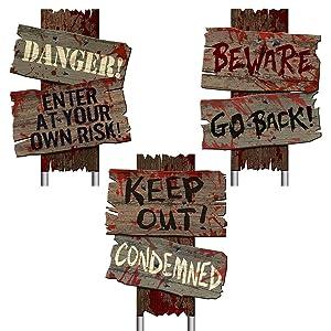amscan Beware Signs Yard Stakes