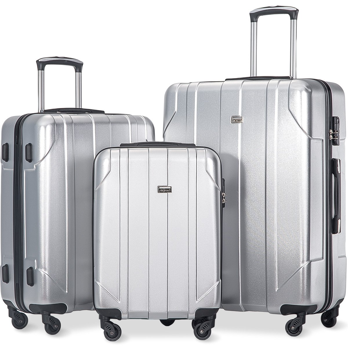 Merax 3 Piece P.E.T Luggage Set Eco-friendly Light Weight Spinner Suitcase(Silver)