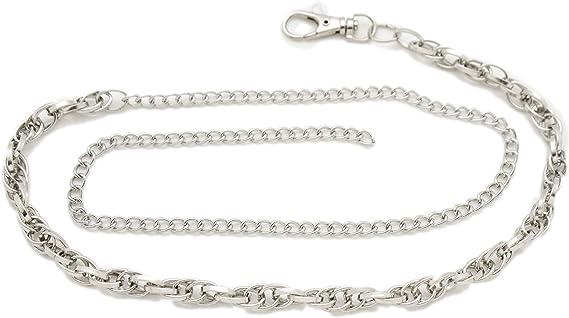 Women Silver Metal Chain High Waist Hip Fashion Belt White Elastic Fabric S M