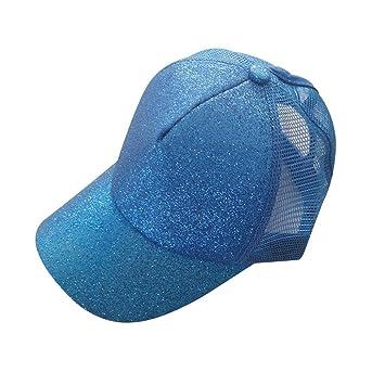 81256045ab737 Amazon.com   UMFun Women Ponytail Baseball Cap Sequins Shiny Mesh Bun  Snapback Hat Sun Caps Adjustable Hip Hop Caps (Blue)   Beauty