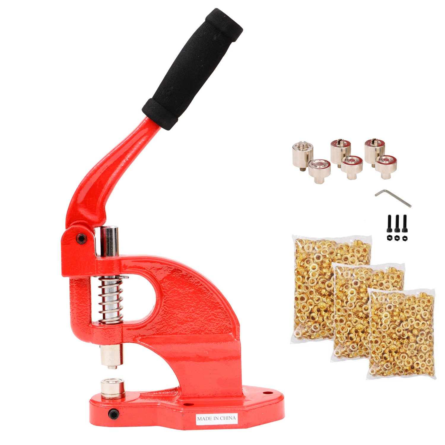 Tenive Manual Heavy Duty Hand Press Grommet Machine– Hand Eyelets Hole Punch Tool with 3 Die Sets - #0 #2 #4 - 900 Grommets Red - A Perfect Hand Press Grommet Machine for Semi-professional and Home