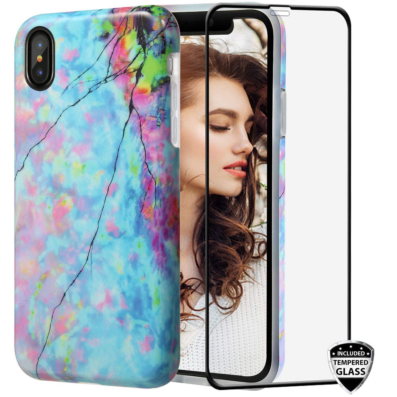 ガラススクリーンプロテクター付きiPhone X XSケース、REEJAX大理石の女性保護スリムフィットバンパー光沢のあるTPUソフトラバーシリコンかわいいカバーケースfor iPhone X/iPhone Xs [5.8