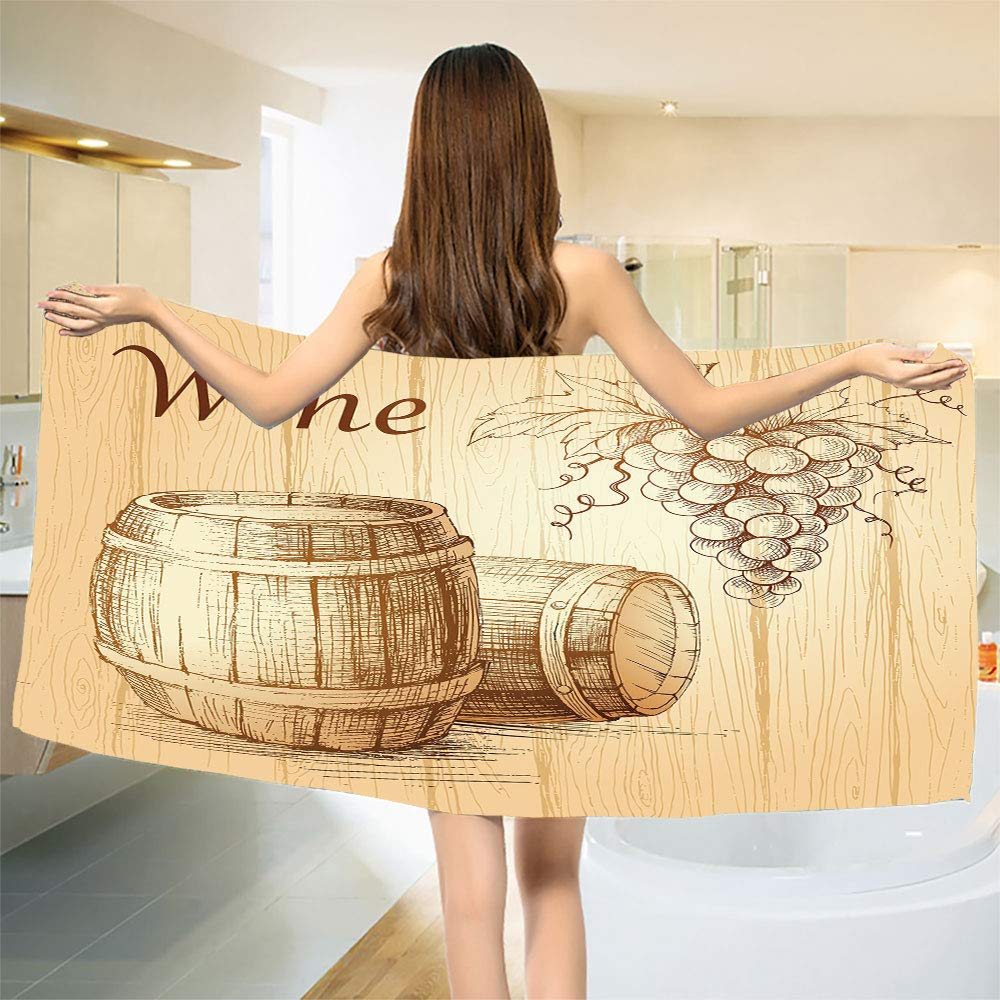 smallbeefly Wine Bath Towel Wooden Barrels and Bunch of Grapes on Wood Backdrop Botany Harvest Theme Artwork Customized Bath Towels Brown Peach Size: W 19.5'' x L 39.22''