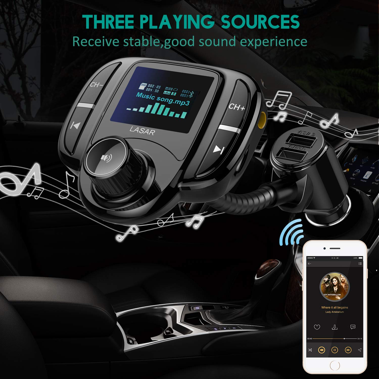 """LASAR Bluetooth FM Transmitter,Wireless Radio Adapter Hands-Free Calling Car Kit QC3.0 and Smart Dual USB Port W 1.7"""" Display, Support USB Drive,AUX Input/Output, TF Card MP3 Player by LASAR (Image #6)"""