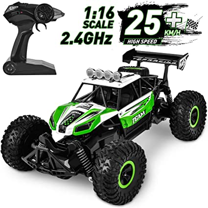 Amazon Com Flyglobal Fast Remote Control Car 1 16 High Speed Rc Cars For Boys Powerful Car Remote Control With 2 Rechargeable Batteries Off Road Rc Trucks Crawler All Terrain Dune Buggy Car For