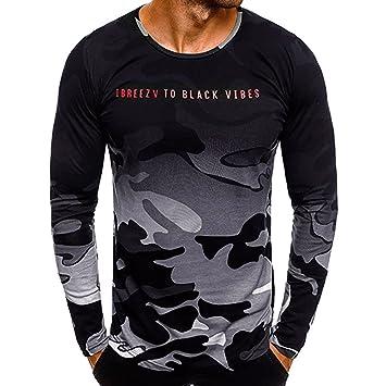 Hombre blusa manga larga Otoño,Sonnena ❤ Camisa Casual de Camuflaje de la Personalidad